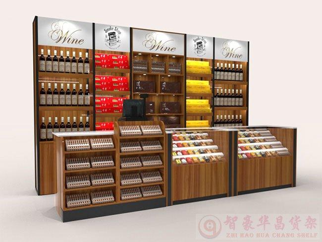烟酒店钢木货架定做展示案例【成